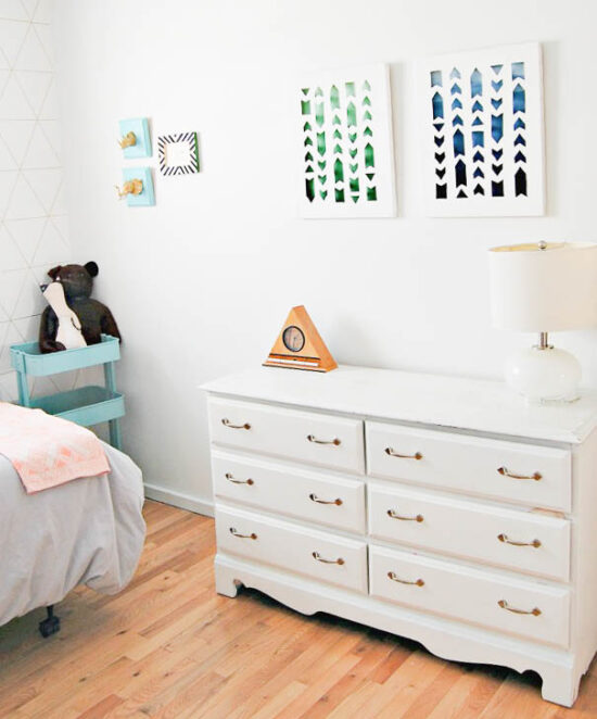 diy ombre art in a white nursery