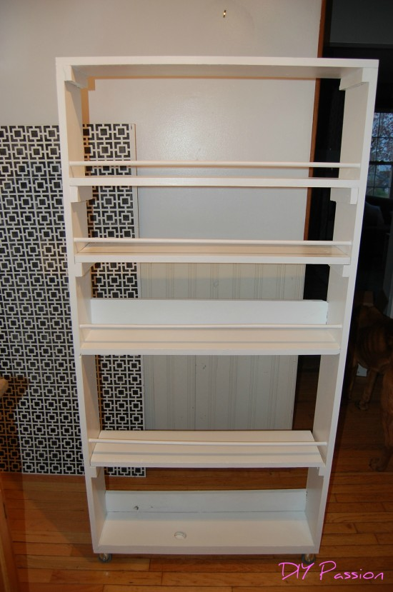 Rolling Pantry 17, spice rack beside fridge