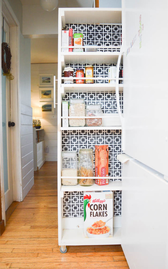 Make your own Pull-out Pantry, storage next to fridge