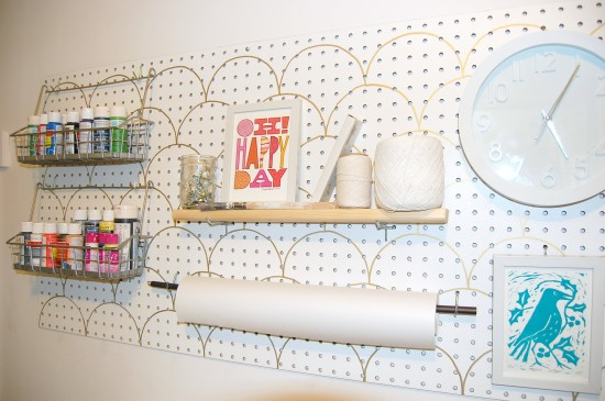 stenciled peg board
