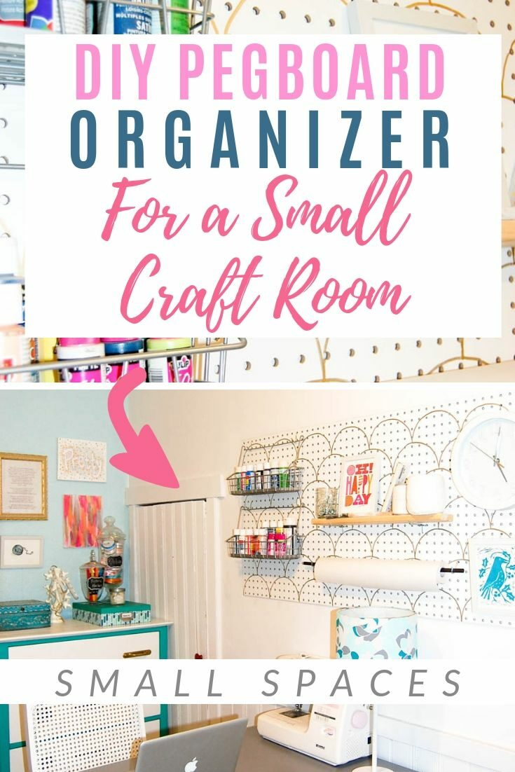 Small Room Pegboard! Plus the CUTEST way to create a scallop stencil in gold!! #organize #tutorial #craftroom #declutter #diypassion