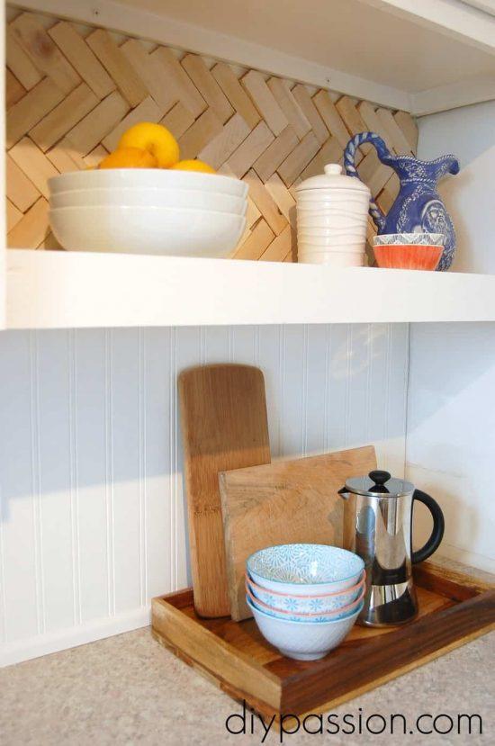 DIY Herringbone Wood Shim Back Splash