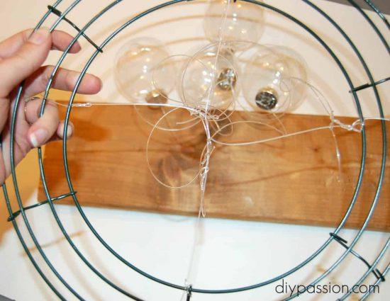 DIY Clear Glass Ornament Chandelier