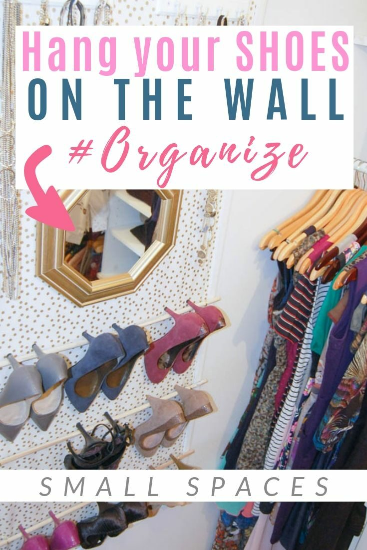 Get organized in your small closet with this shoe organization hack! This is perfect if you're addicted to heels like I am #smallspace #storage #shoes #diypassion