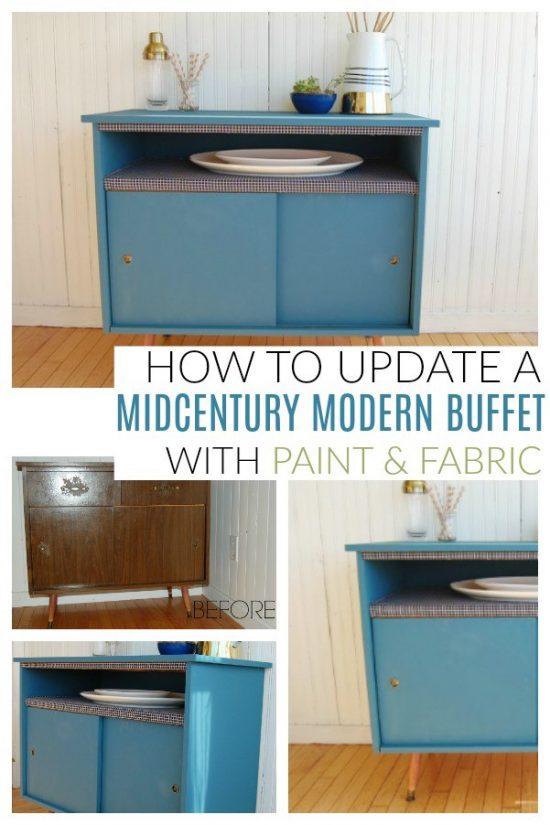 midcentury modern buffet makeover