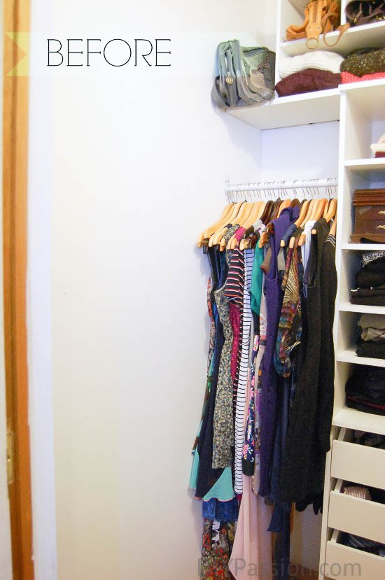 Small Closet BEFORE organizing shoes on the wall