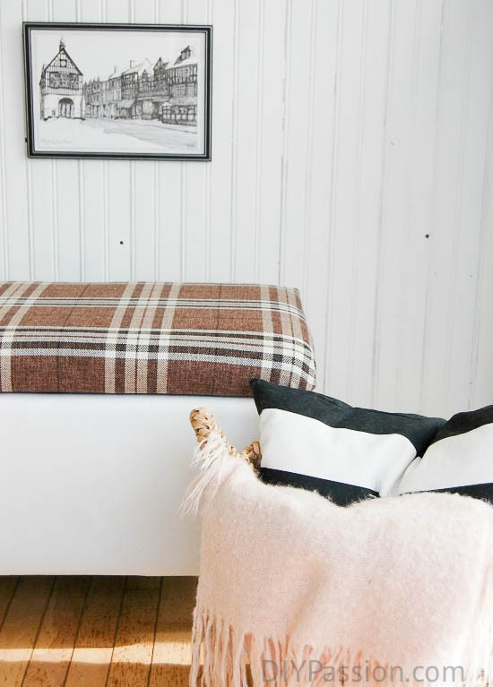 Storage Ottoman Recovered in Bold Plaid Fabric