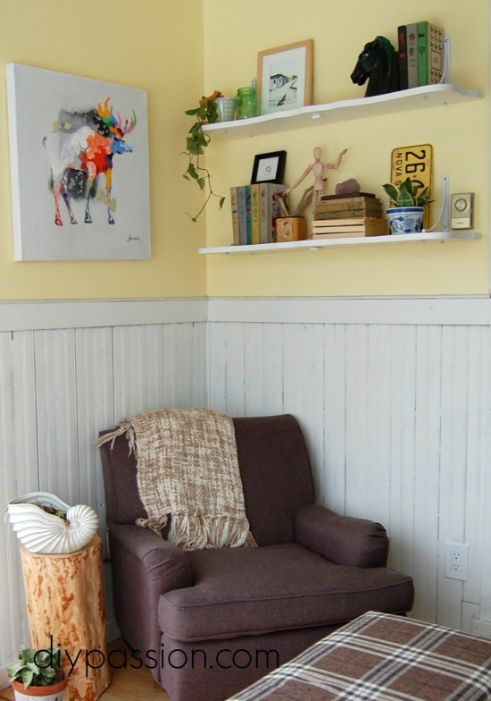 Upcycled table leaves into shelves