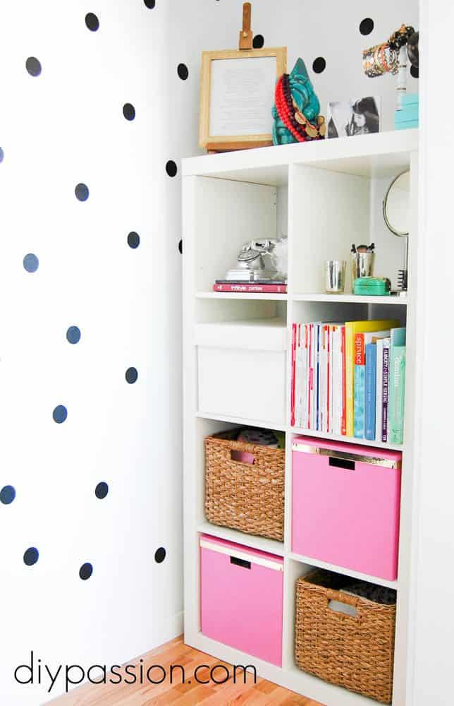 Polka Dot Closet with Dollar Store Supplies