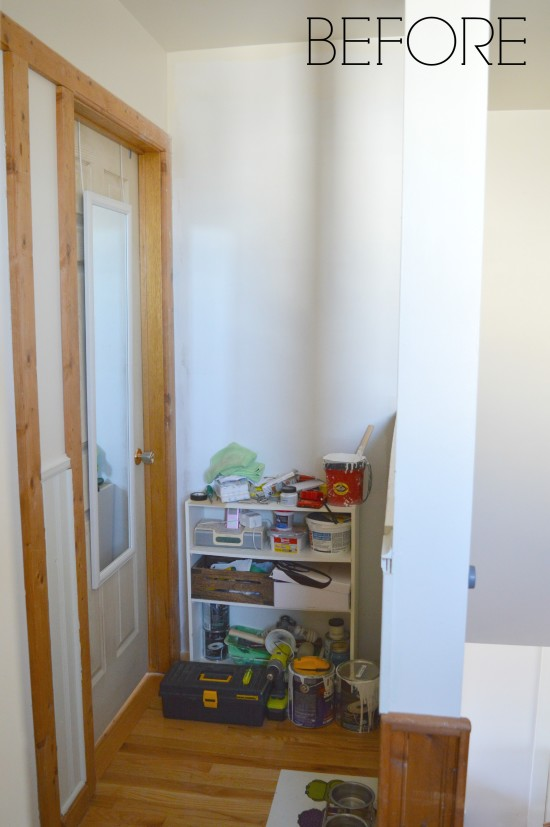This wall was once a built-in closet bookcase.