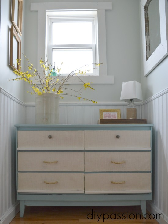 Nautical Dresser with Burlap and Rope Drawers