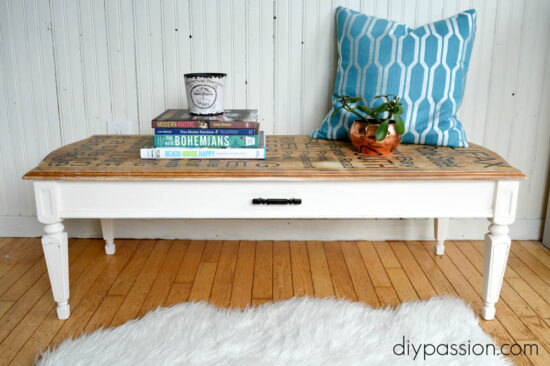 DIY Subway art table with decals