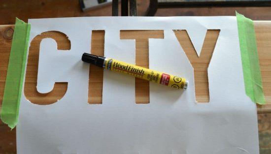 DIY Scrap Wood Sign City Stencil