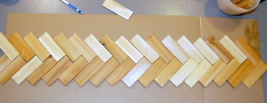 How to make a herringbone back splash - arrange your wood