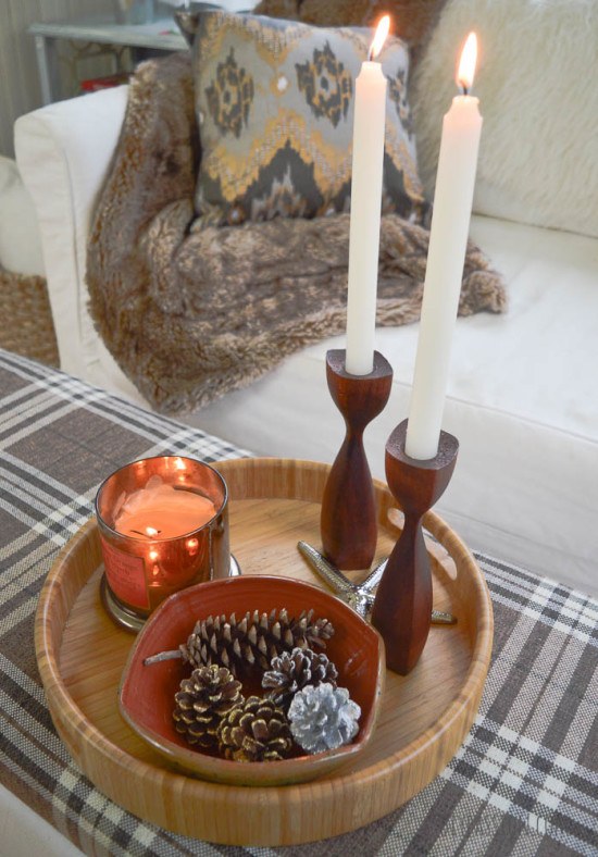 Candles and Pinecones as part of a Fall Home Tour