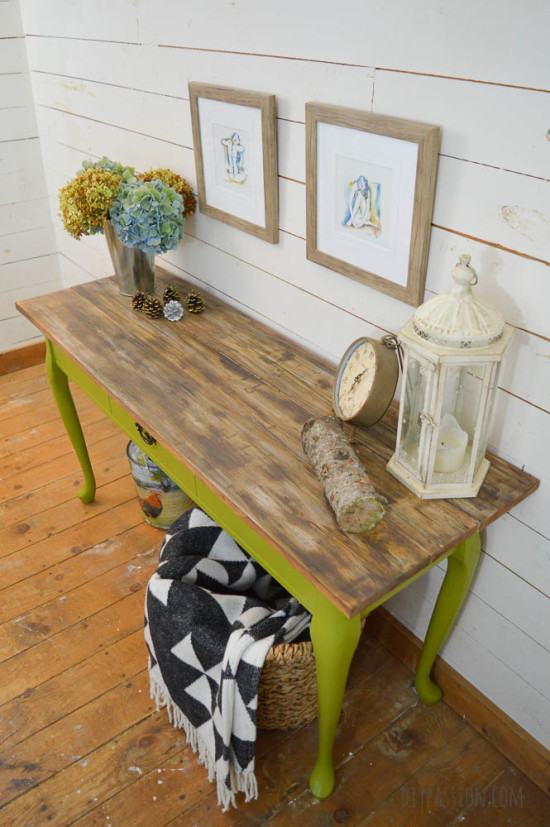 Harvest Console Table with DIY Reclaimed Wood Top