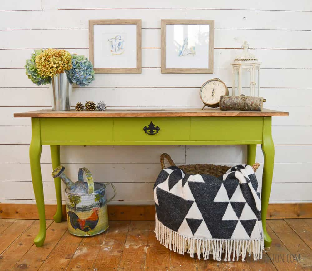 Harvest Themed Console Table with PARA Paints Avocado Shake Green