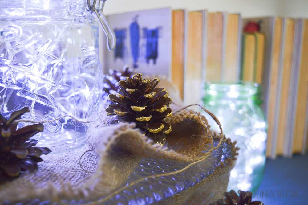 Twinkle lights and pinecones