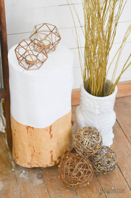 Sand and Paint a Log for a Rustic Table