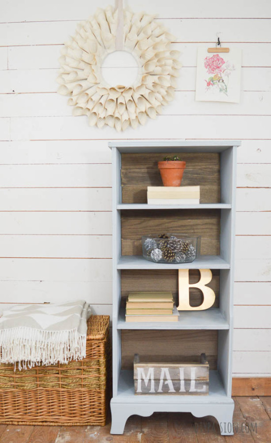 Bookcase Makeover with Driftwood Planks