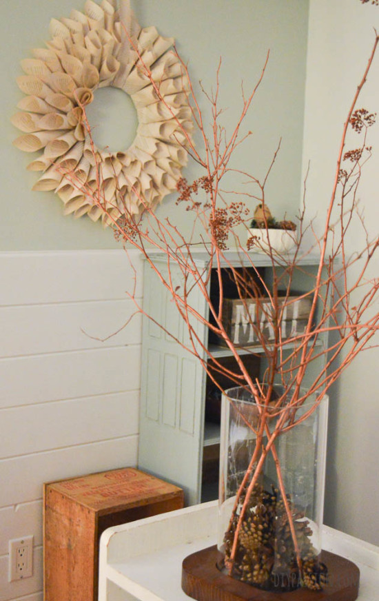 Metallic spray painted twigs for the holidays