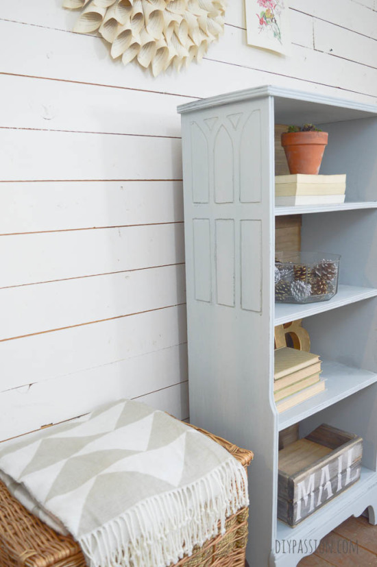 Window details on Chalk Painted Bookcase
