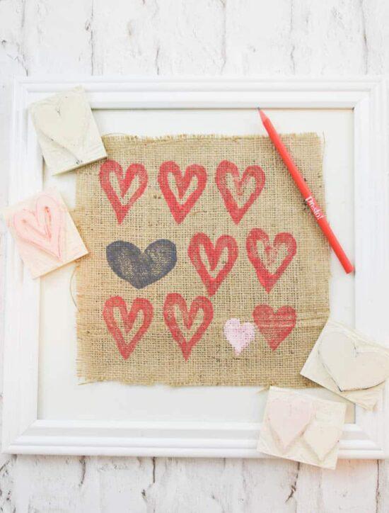 DIY Valentines Day Stamp Art