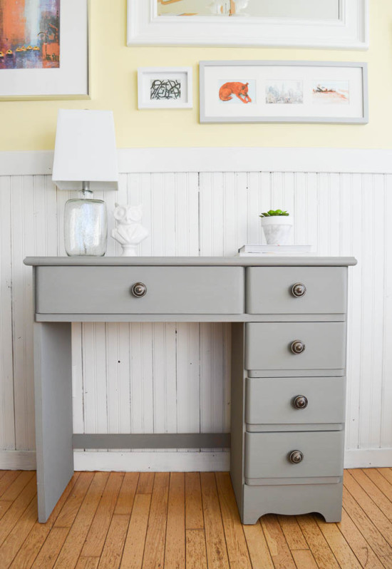 Curb Side Find transformed with Grey Chalk Paint and Vintage Knobs