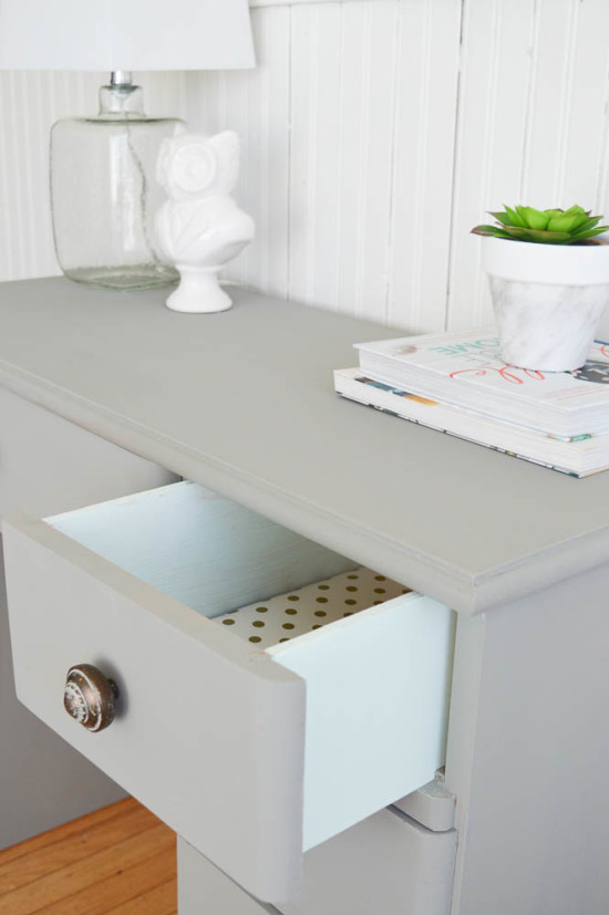 Desk Drawers lined with Gold Polka Dots