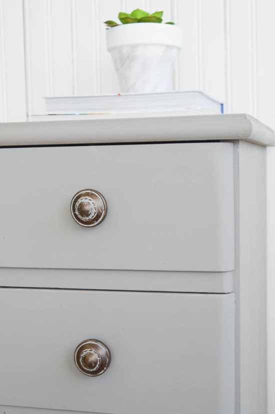 Vintage Knobs on a Grey Chalk Painted Desk