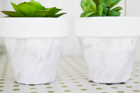 DIY Marble Flower pots