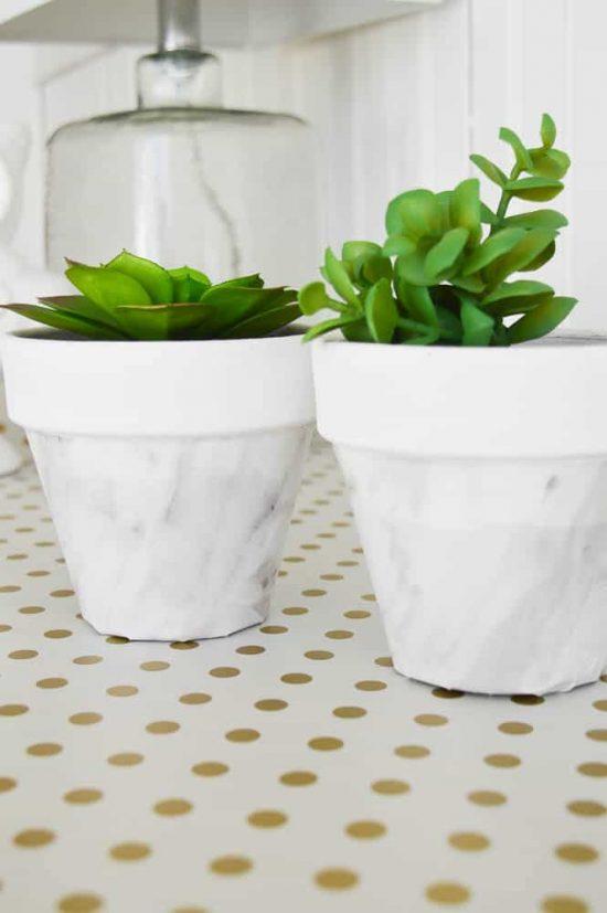 Faux marble pots
