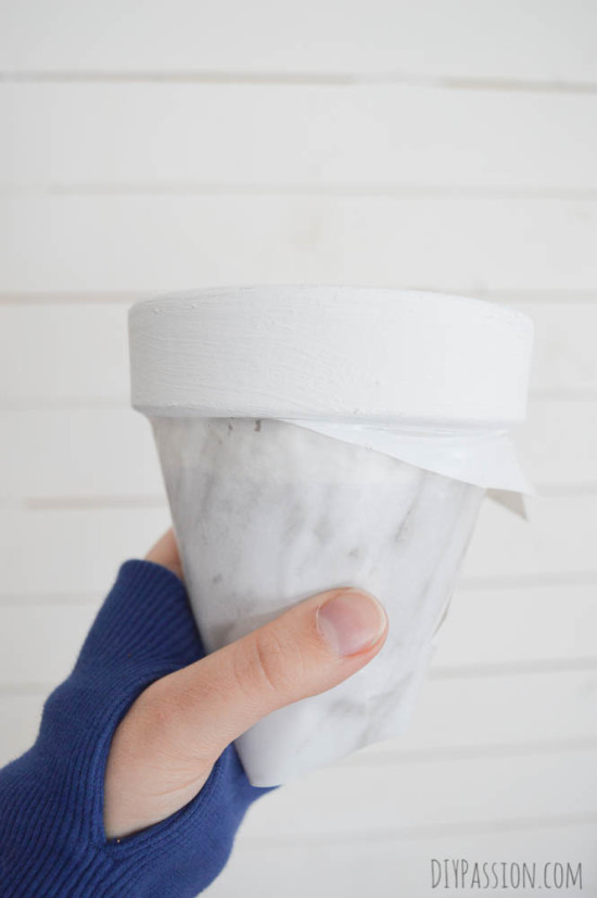 Flower Pot wrapped in Contact Paper
