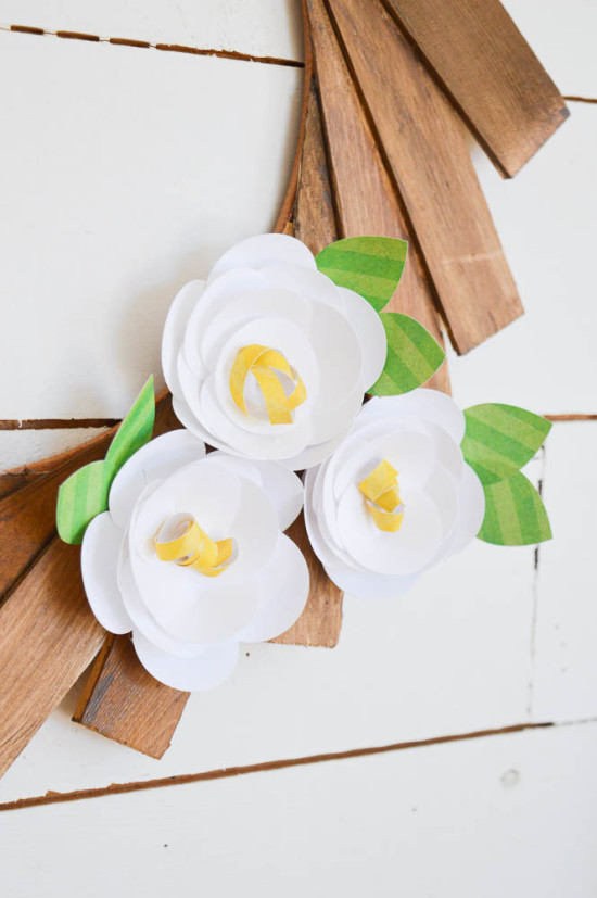 How to make Paper Flowers with a Silhouette and a Spring Wreath from Wood Shims!