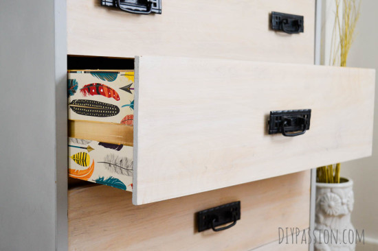 Update drawers with special feather motif paper