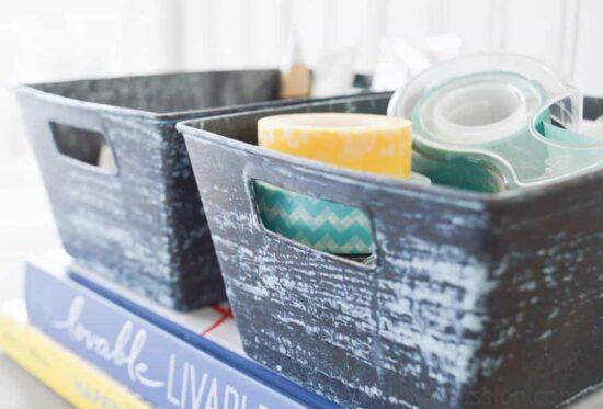 Dollar Store Plastic Bins turned Faux Blue Patina