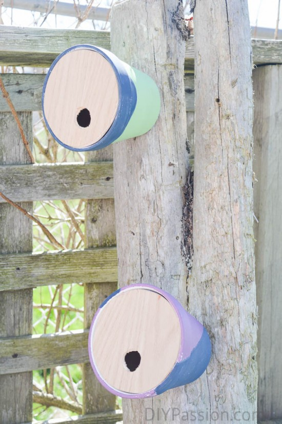 Hang birdhouses outside using solid screws