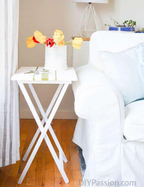 Living Room Sneak Peek with Grain Sack Table