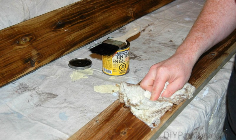 Mix gel stains to achieve reclaimed look on old fence boards