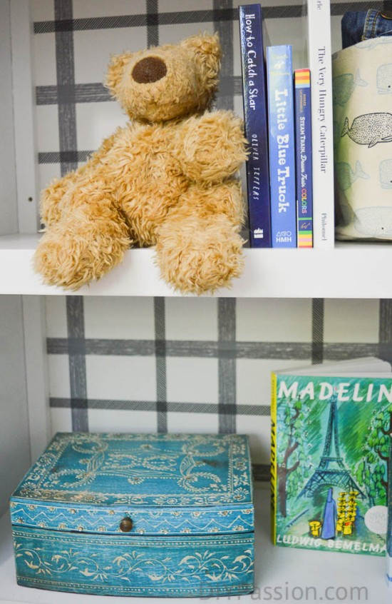 How to add wall paper to a bookcase
