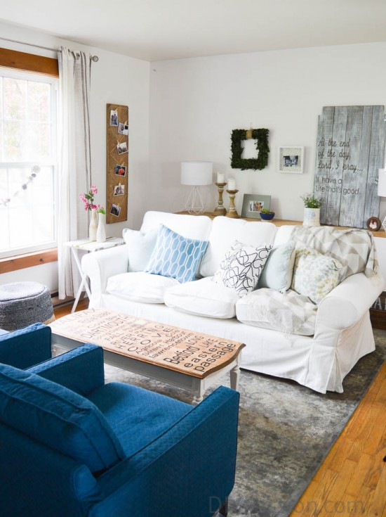 Living Room with a White Couch