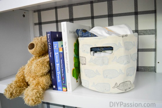 Nursery Bookcase with Plaid details