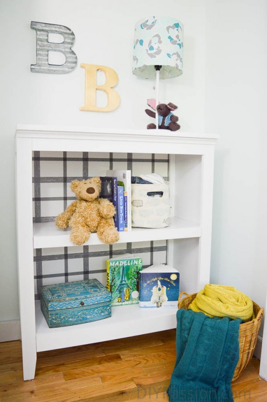 Updated nursery closet with bookcase
