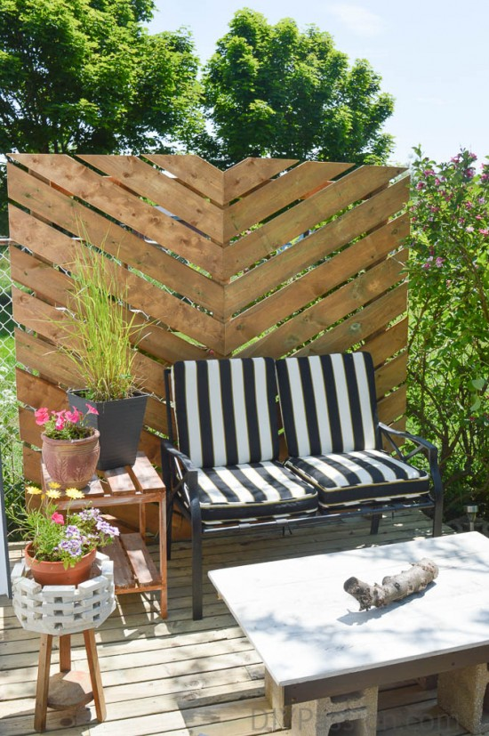 A peek at the privacy screen and patio makeover