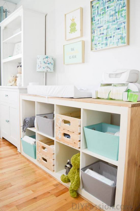 DIY Nursery Storage Shelf and Organization