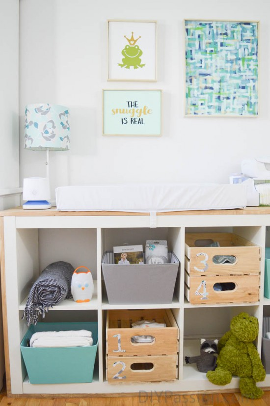 DIY aqua and grey nursery