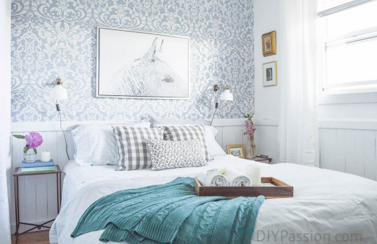 Floral Wall Paper in Bright Guest Room