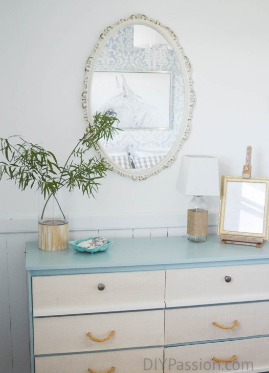 Turquoise Dresser in Coastal Inspired Bedroom
