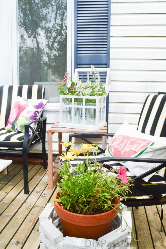 Deck with black and white and large bold floral prints
