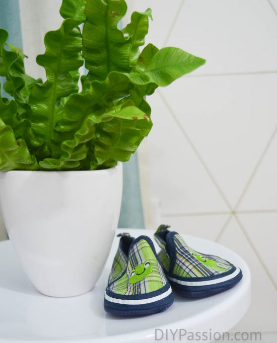 Froggy Shoes with Geometric Wall in the background
